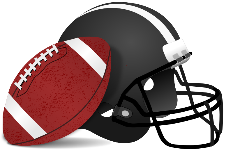 American Football and Helmet by gnokii - A football and helmet as worn in American style football as seen in the superbowl and NFL footbal games.