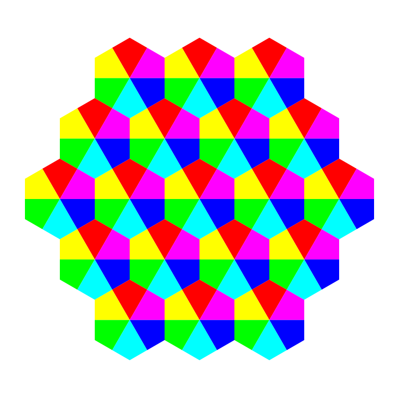kite hexagons 6 color by 10binary