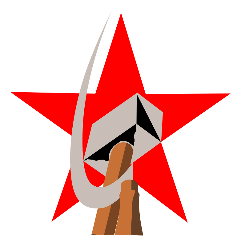 hammer and sickle in star by worker - hammer and sickle in star