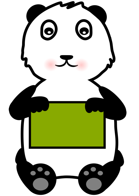 Panda Holding a Sign by Lil_Mermaid_Girl - A cute panda bear holding a sign. Add your own text to the sign to create an awesome page for any project!