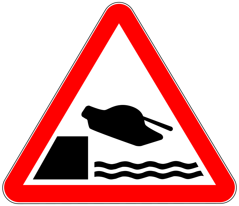 tank by worker - warning sign with tank
