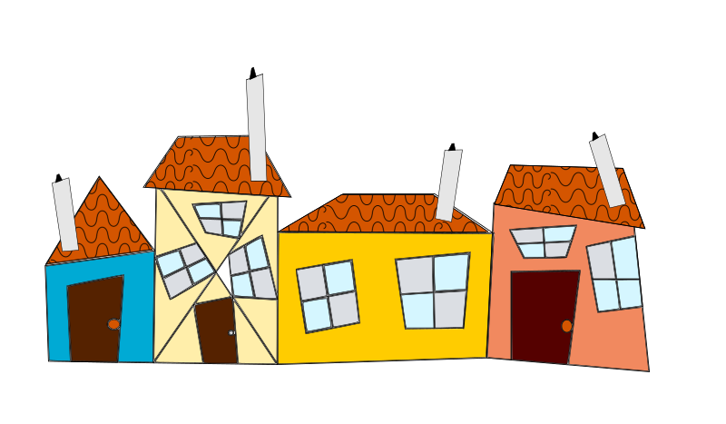 Line Art House Png : Clipart crazy houses