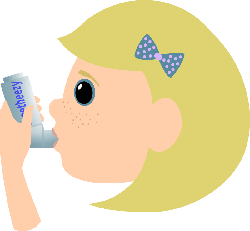 Girl with asthma spray by Moini - A blonde girl using her asthma spray. Asthma in children can be caused by smoking parents. Part of a series about adverse effects of smoking.