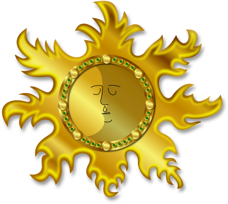 Sun and Moon by Merlin2525 - The Sun and Moon with a golden Aztec kind of effect. An original drawing made by me, and vectored using Inkscape. To modify the image to your own needs, you need to unlock the layers.