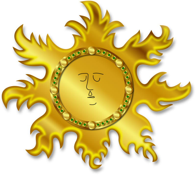 The Sun by Merlin2525 - A golden sun with an Aztec kind of effect, The moon has been removed in this version. An original drawing created by me, vectored using Inkscape. This is a layered image.