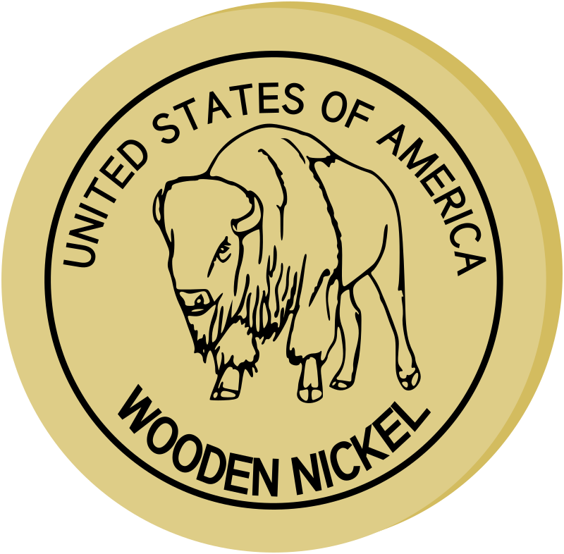 "Wooden Nickel by mazeo - A wooden nickel showing an image of an American bison and the text items ""UNITED STATES OF AMERICA"" and ""WOODEN NICKEL""."