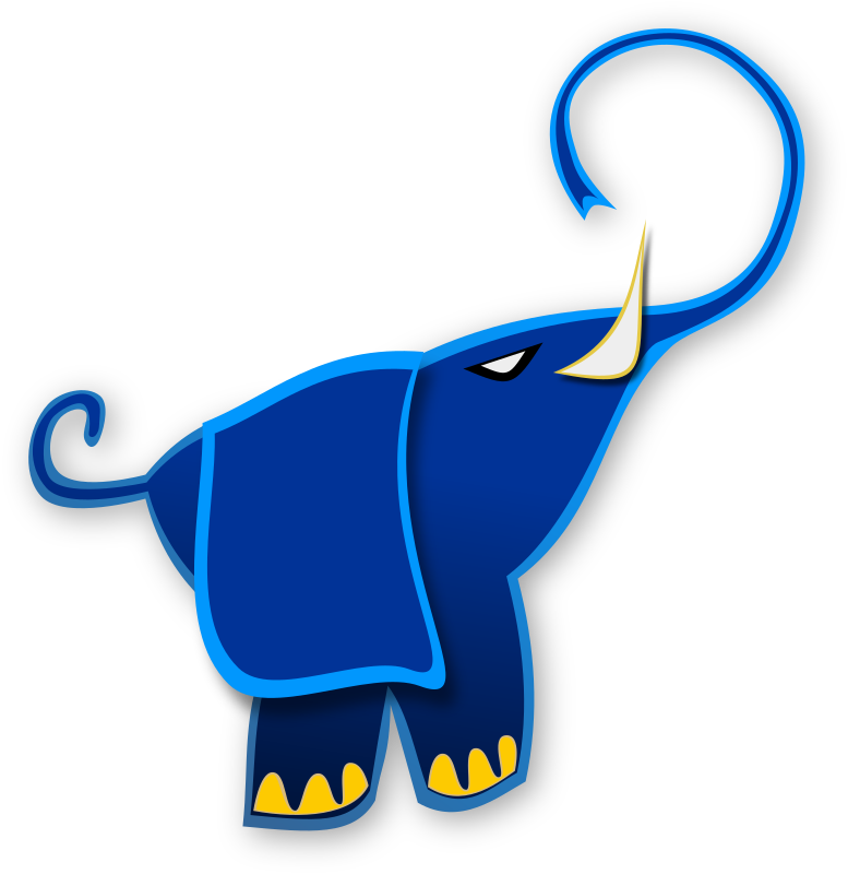 Blue Elephant by Merlin2525 - A blue elephant drawn with Inkscape.