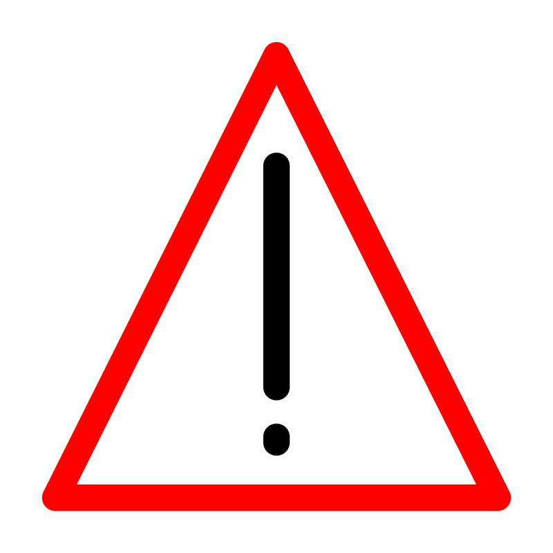 Warning sign by DynV - Triangular warning sign with a translucent white background, a red border and a black exclamation mark at its center which looks like wield road sign.