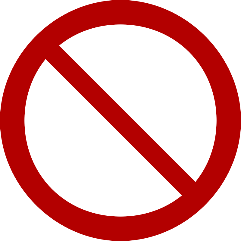 Prohibition Sign by lol768 - From Wikipedia (http://en.wikipedia.org/wiki/File:ProhibitionSign2.svg). Released into public domain by author, GravisZro.