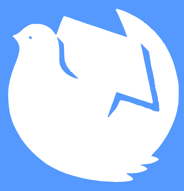 dove, hammer and sickle by worker -