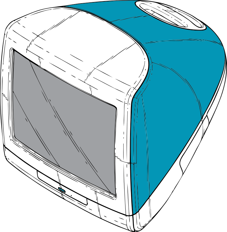 original iMac by johnny_automatic - the original iMac computer in its signature Bondi Blue from a U.S. Patent drawing.  Drawing did not have Apple logo and I didn't add it for copyright reasons.