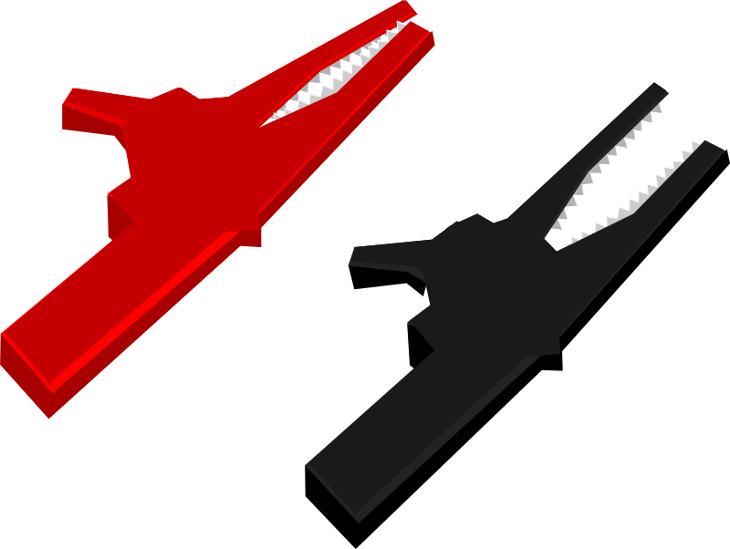 Alligator clips by goios - red and black alligator clips used in electronics as connectors
