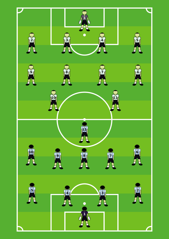 Soccer Field by Robert Ingil - Schematic representation of two football (soccer) teams on the field.