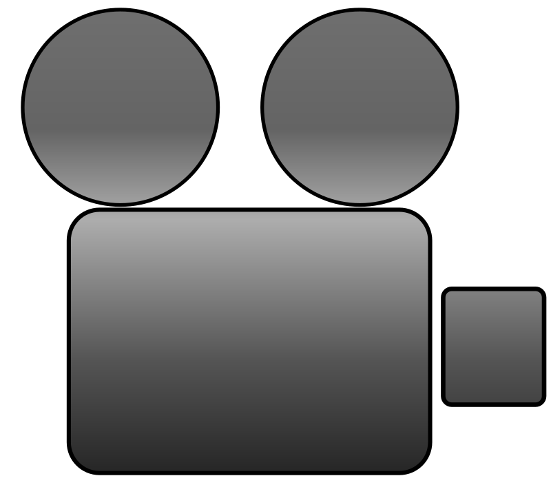Video Camera Icon by fab1 - A minimalist video camera icon with two rectangles and two circles.