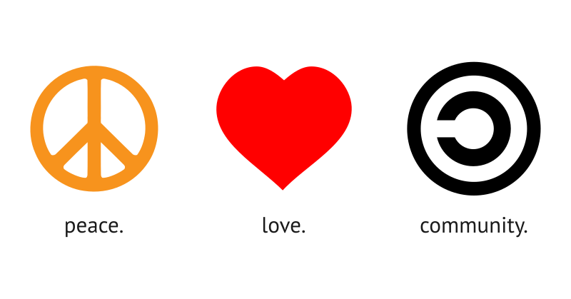 Peace. Love. Community. by cliparteles - I just used the copyleft symbol as symbol of community.