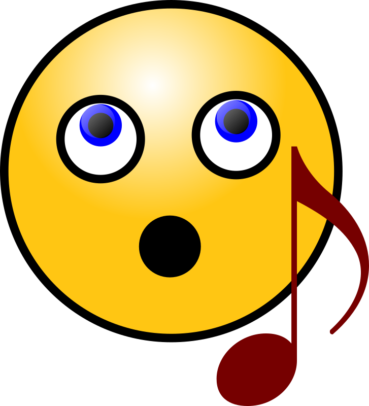 Singing Smiley Face by Antares42 - A yellow smiley face (emoticon) singing, with dark red musical note