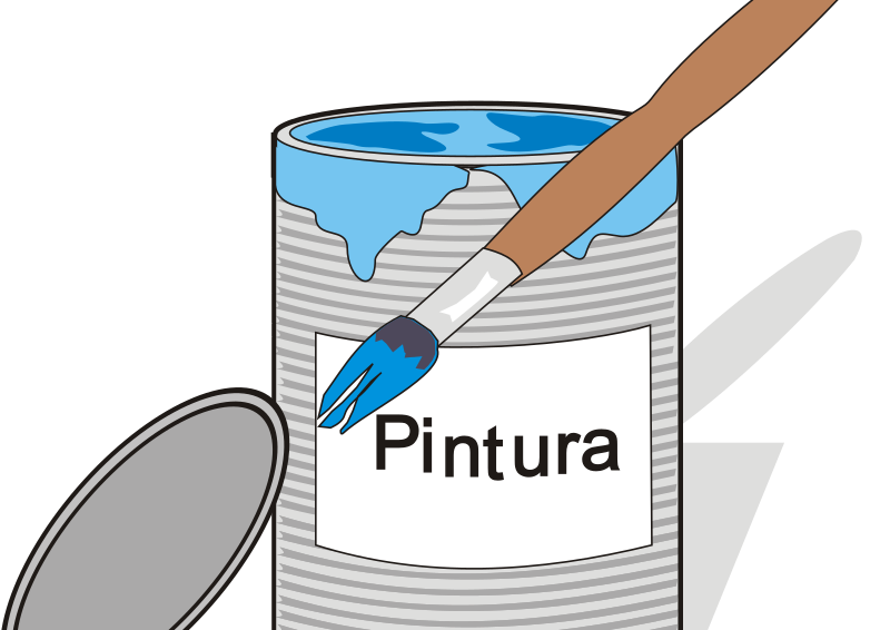 Paint tin can and brush by aidiagre - Blue paint with paintbrush.