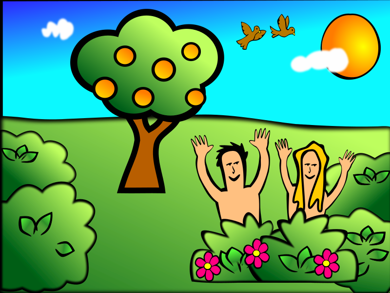 Adam & Eve Happy by rygle - Adam & Eve happy in the garden of Eden story from the Bible