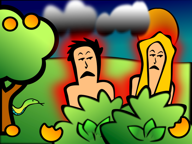 Adam & Eve Sad by rygle - Adam and Even sad in the garden of Eden after eating the forbidden fruit, from the Bible story in Genesis 3.
