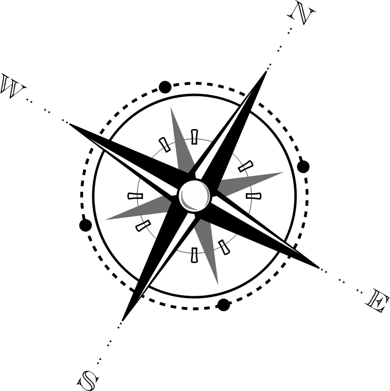Compass by ipurush - A black and white 3d compass