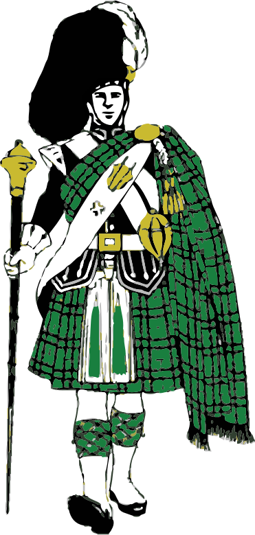 Scottish Highlander by bnsonger47 - Image is of a Highlander in full dress with green and black color for the plaid.