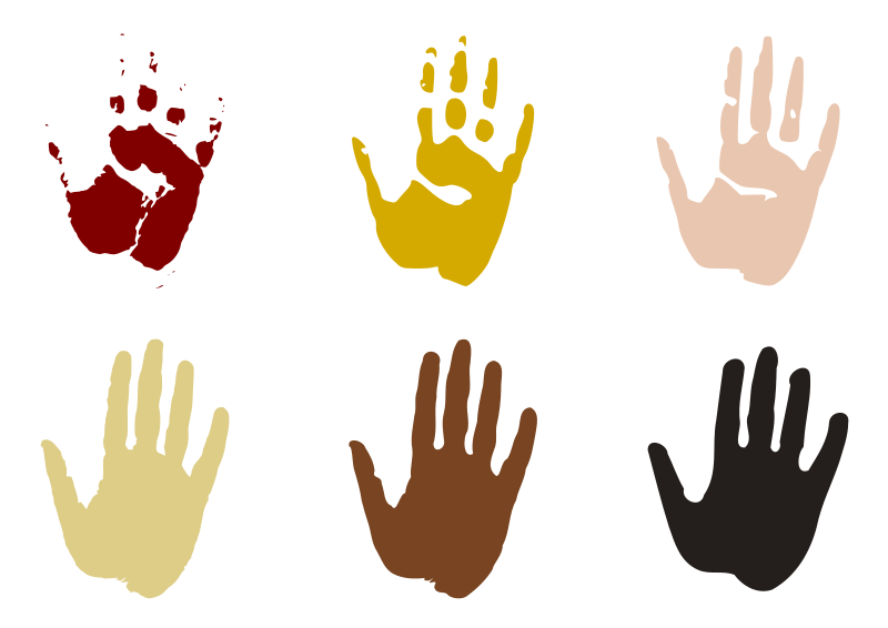 Hand prints by kattekrab - I literally scanned my hand to create this silhouette, then used the potrace tool in inkscape to create vectors.  I chose earthy colours inspired from cave of hands rock art in Australia and Mexico.