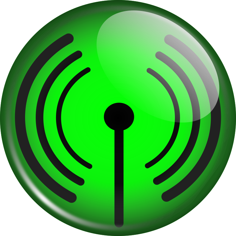 Glassy WiFi symbol by coredump - A general purpose WiFi symbol with a glassy finish. Although I did it in green you can always re-edit with a different color scheme.