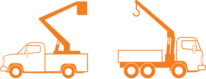 "Lift and Crane Trucks by bnsonger47 - These images are part of a collection of work vehicles. This file includes line art of a ""bucket"" truck and a truck with a crane. These are done in a style of a collection of other vehicles available here."
