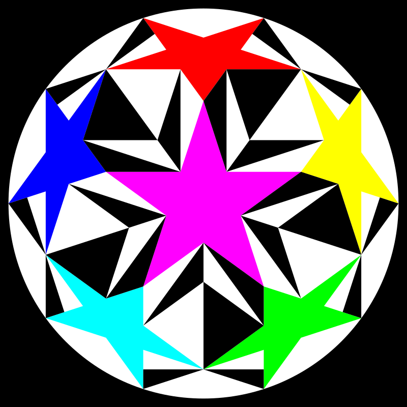 sacred double pentagon by 10binary - I haven't been uploading things lately to openclipart since I'm trying to sell my art, but this is a very special one that I think should be shared with the world. There are some amazing illusions that can be done and this is one of them.