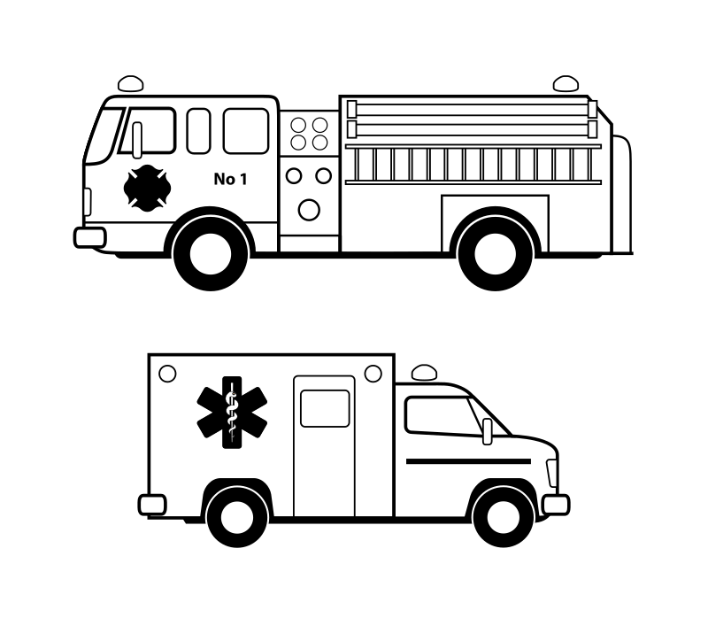 Véhicules d'urgence noirs by cyrille - lineart ambulance and fire truck