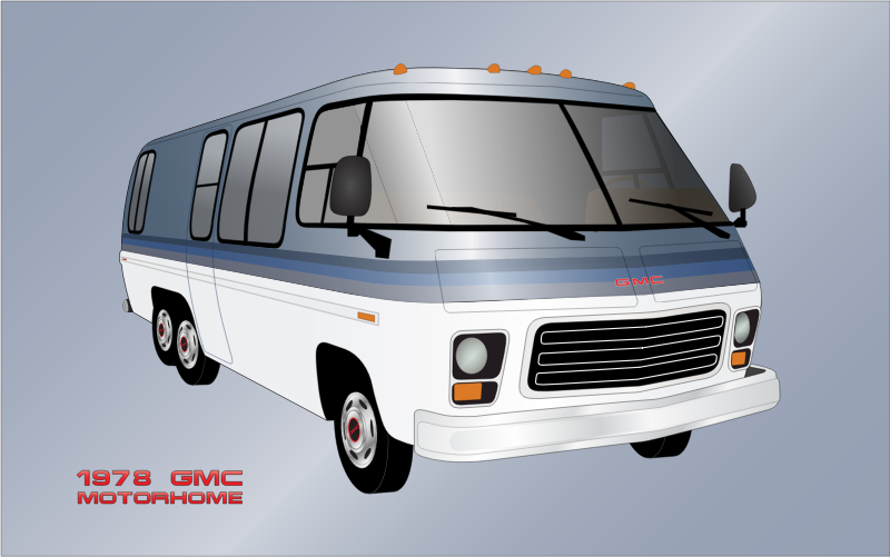 "1978 GMC Motorhome by bnsonger47 - From 1973 to 1978 GMC manufactured a motorhome. It used an Oldsmobile engine and front wheel drive transmission. This illustration is of a color scheme called ""Lake Placid"" which never made it into production"