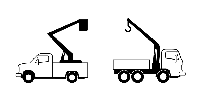 Deux camions de levage by cyrille - lineart trucks