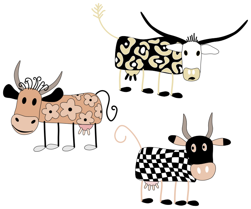 Cartoon Cows by WolfgangWgn - set of cartoon cows