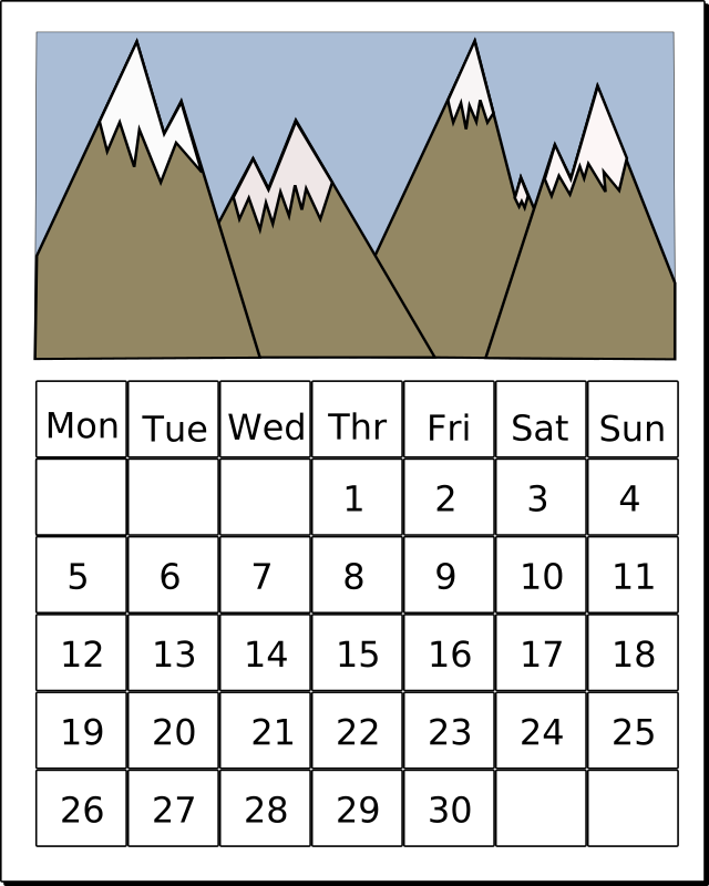 Calendar by aqeeliz - A simple calendar with mountains
