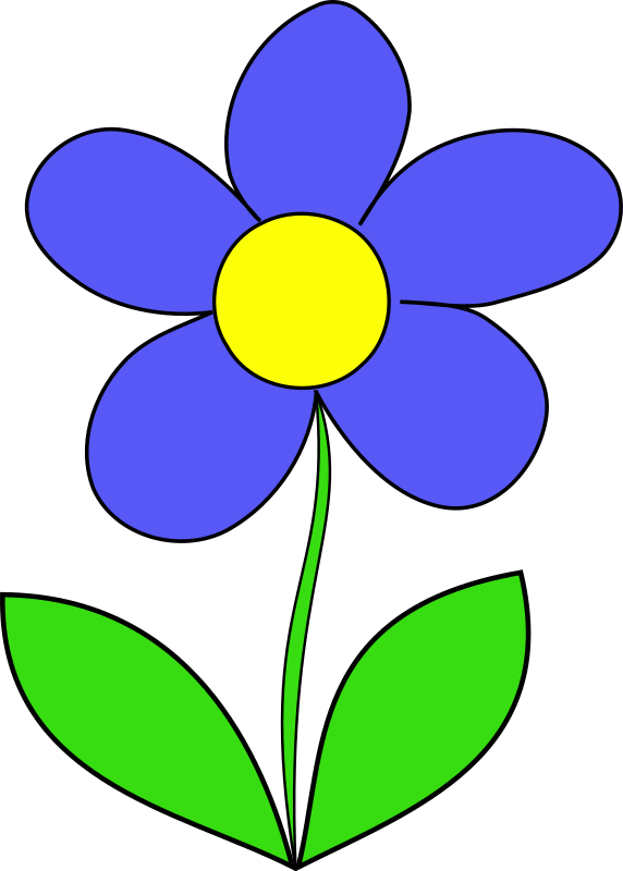 Simple Flower by HakanL - Simple line drawing of a cartoon/kid flower with stem and petals.