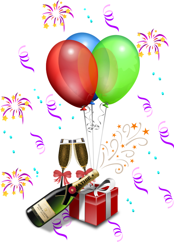 Champagne Showers 1 by Merlin2525 - A more festive New Years or Party scene. Credit to the following Open Clip Art Artist: Gustavo Rezende toast 2, Wakro ribbon, Remi Inconnu champagne bottle, Anonymous ghirlande festa, Freephile balloons, Jean Victor Balin starplose, Nucubunu newyear01, SecretLondon red present. I only did the rearrangement of the clip art, extended the strings on the balloons, and added a shadow to the bottle.