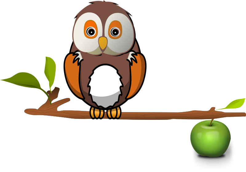 Owl on branch by karthikeyan - apple, branch, clip art, clipart, owl, tree,