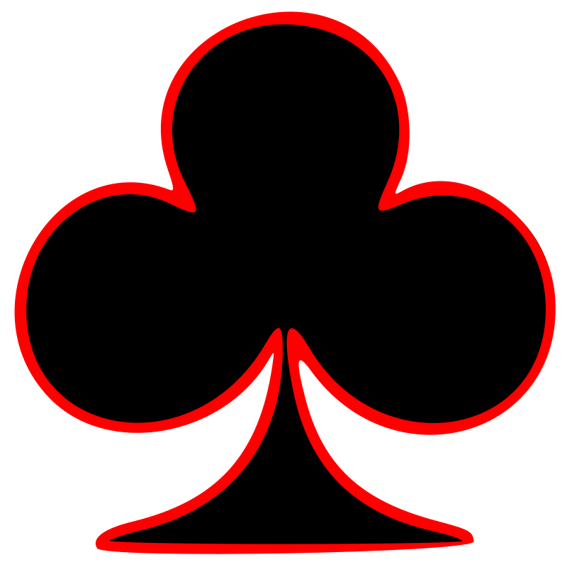 Outlined Club Playing Card Symbol by GR8DAN - The club playing card symbol outlined in red.