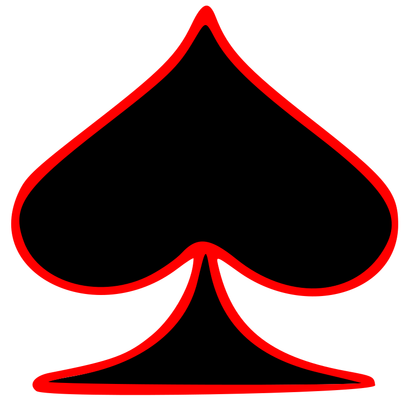 Outlined Spade Playing Card Symbol by GR8DAN - The spade playing card symbol in black outlined in red.