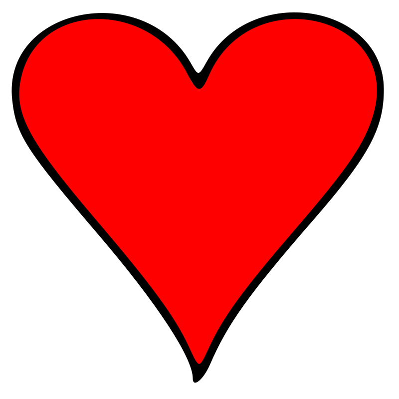 Outlined Heart Playing Card Symbol by GR8DAN - The heart playing card symbol, red with a black outline.