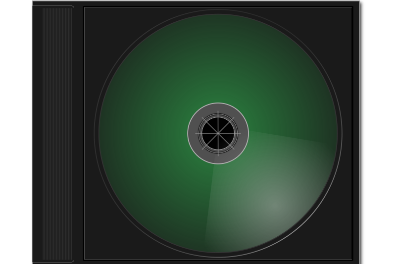Jewel Case by ryan_s - A Jewel case created in Inkscape. You can ungroup the objects if you need to do so in inkscape. The case and the CDROM will separate.