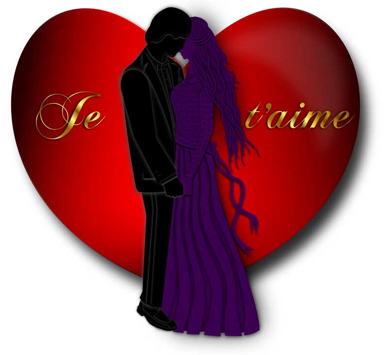 "Je t'aime Valentine by Merlin2525 - A Valentine I created in 2011. The image is of a lovely couple holding hands.  In the background a red heart, with the French words, ""Je t'aime."" which means, ""I Love You"" in English. The man is wearing a formal outfit. The woman is wearing a dress with ribbon and lace. Her top is decorated with stars. A heart pendant decorates her neck. Lots of detail went into this work.  Enjoy!"