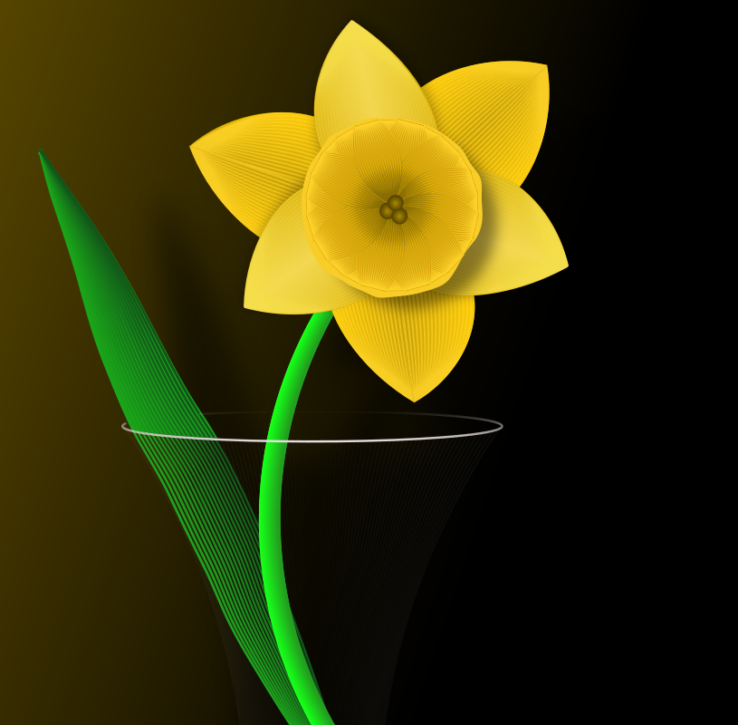 Daffodil by PomPrint - A stylised daffodil in a glass vase.