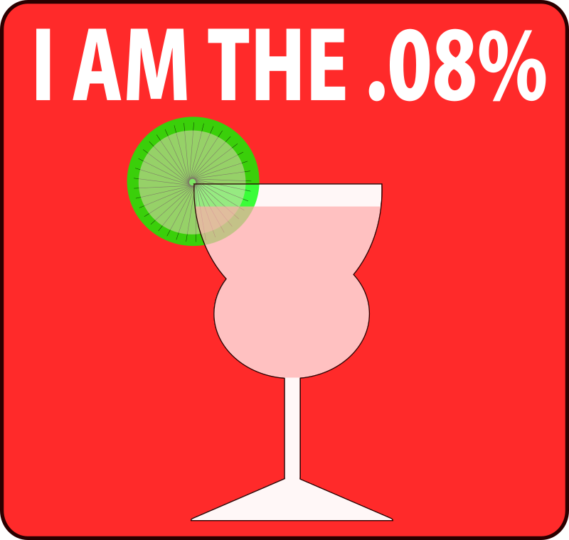 "I Am The .08% - Feminine by FunDraw_dot_com - .08% is usually the level of blood alcohol at which a person is considered legally drunk. A humorous twist on the Occupy protest slogan. This is the ""feminine"" version with a curvier glass and colored liquid. There is also a ""masculine"" version with a martini and olive."