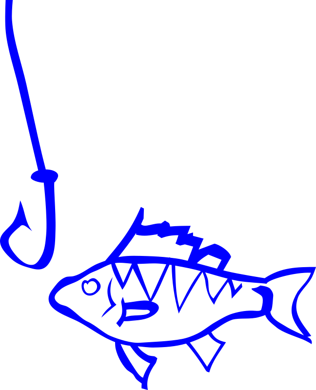 Graffiti Fish and hook by rones - lineart fish at hook
