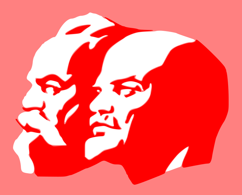 Marx and Lenin by worker - silhouettes of Marx and Lenin