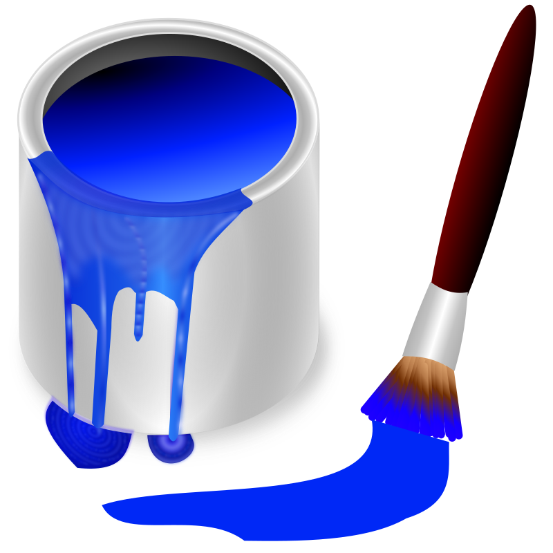 color bucket blue by frankes - bucket with blue colour and brush