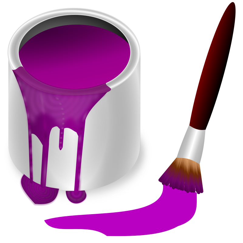 color bucket purple by frankes - bucket with purple colour and brush