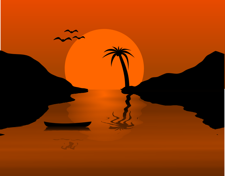 "Sunset Waterscene by Chrisdesign - An quick example how to use the wavefilter from the distortion pack. The Palmtree is sampled from  ""palm tree  by Anonymous"""