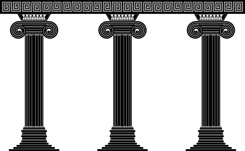 Three Columns by GusEinstein - Inspired by the Greek columns of type Jonico